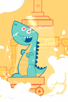Character Animation: Banco Azul – Pinino version Dinosaurio