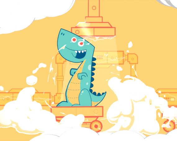 Character Animation: Banco Azul – Pinino version Dinosaurio